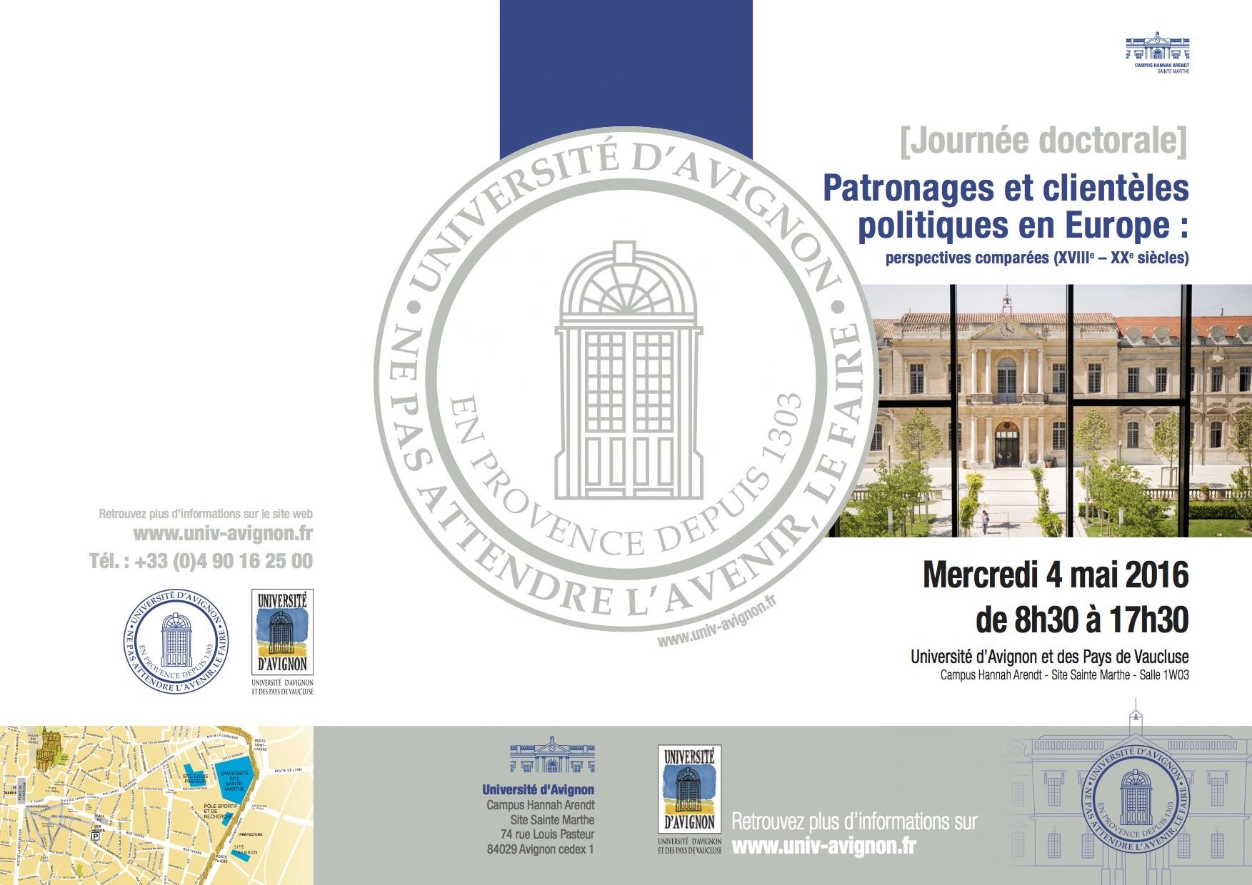 [JOURNÉE D'ÉTUDES] Patronages et clientèles politique en Europe, Avignon, 4 mai 2016